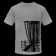 T-Shirts ~ Men's T-Shirt by American Apparel ~ Disc Golf Basket Shirt - Black Print - Menn's Fitted Shirt