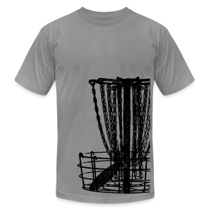 Disc Golf Basket Shirt - Black Print - Menn's Fitted Shirt - Men's T-Shirt by American Apparel