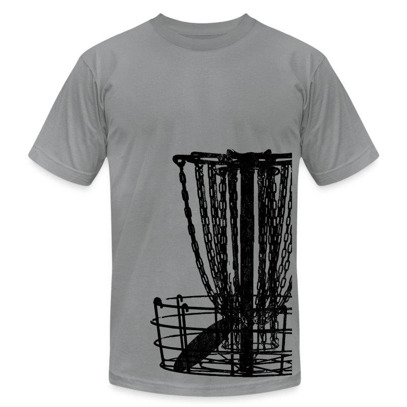 Disc Golf Basket Shirt - Black Print - Menn's Fitted Shirt - Men's Fine Jersey T-Shirt