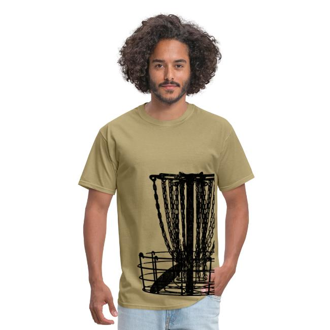 Disc Golf Basket Shirt - Black Print - Men's Standard Weight Shirt