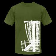 T-Shirts ~ Men's T-Shirt by American Apparel ~ Disc Golf Basket Shirt - White Print - Men's Fitted Shirt