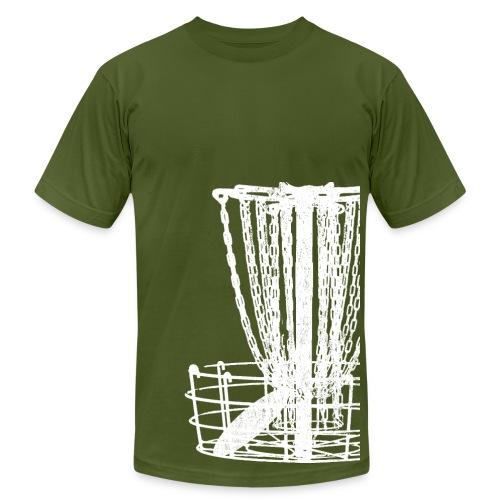 Disc Golf Basket Shirt - White Print - Men's Fitted Shirt - Men's Fine Jersey T-Shirt