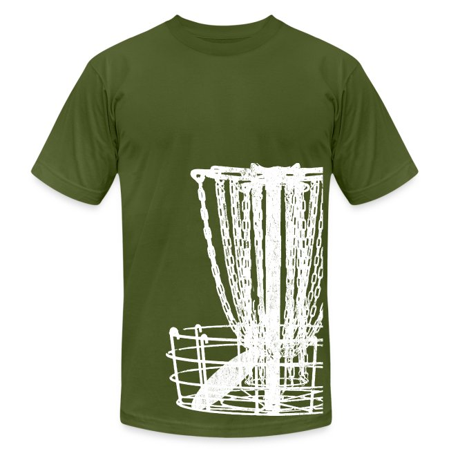 Disc Golf Basket Shirt - White Print - Men's Fitted Shirt