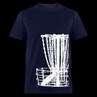 T-Shirts ~ Men's T-Shirt ~ Disc Golf Basket Shirt - White Print - Men's Standard Weight Shirt