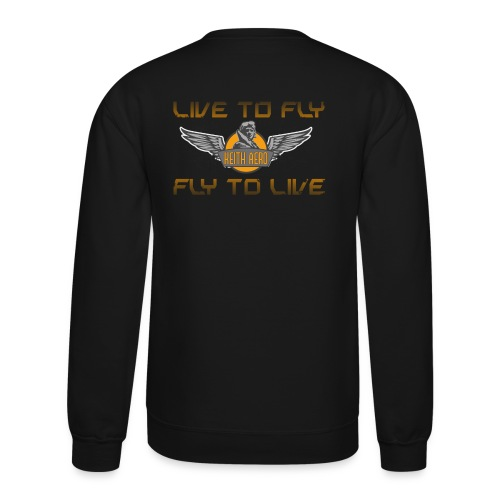 Keith Aero Men's Live to Fly Destroyed Design Crewneck Sweatshirt - Crewneck Sweatshirt