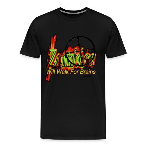 Zombies Walk for Brains - Men's Premium T-Shirt