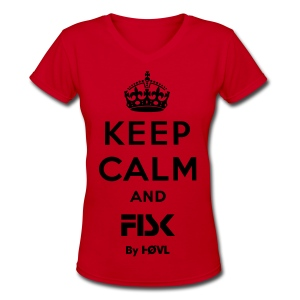 KEEP CALM AND FISK - BY HØVL RED - Women's V-Neck T-Shirt