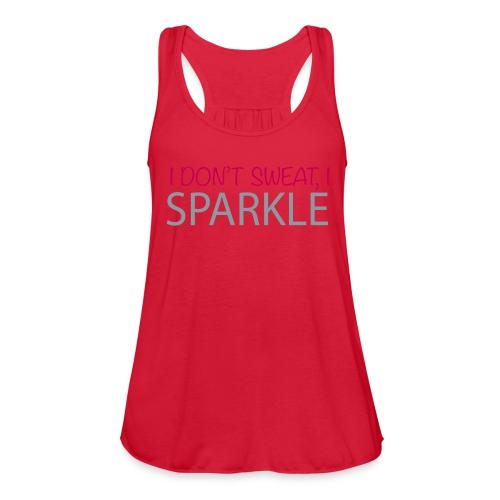 Women's Flowy Tank Top by Bella - I don't sweat I sparkle,  Sparkles Metallic version, Fit Affinity Fitness,