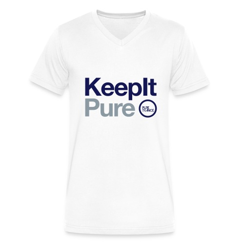 Keep It Pure (Silver Metallic /Navy Blue [Male] - Men's V-Neck T-Shirt by Canvas