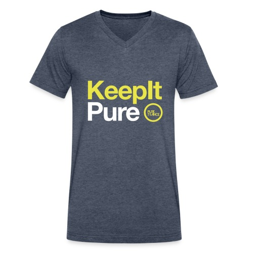 Keep It Pure (Yellow / White [Male] - Men's V-Neck T-Shirt by Canvas