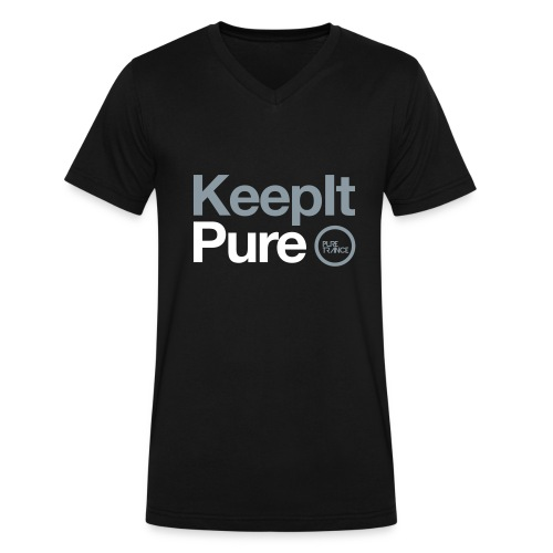 Keep It Pure (Silver Metallic / White) [Male] - Men's V-Neck T-Shirt by Canvas