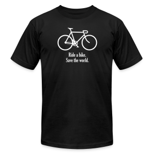ride bike save world - Men's T-Shirt by American Apparel