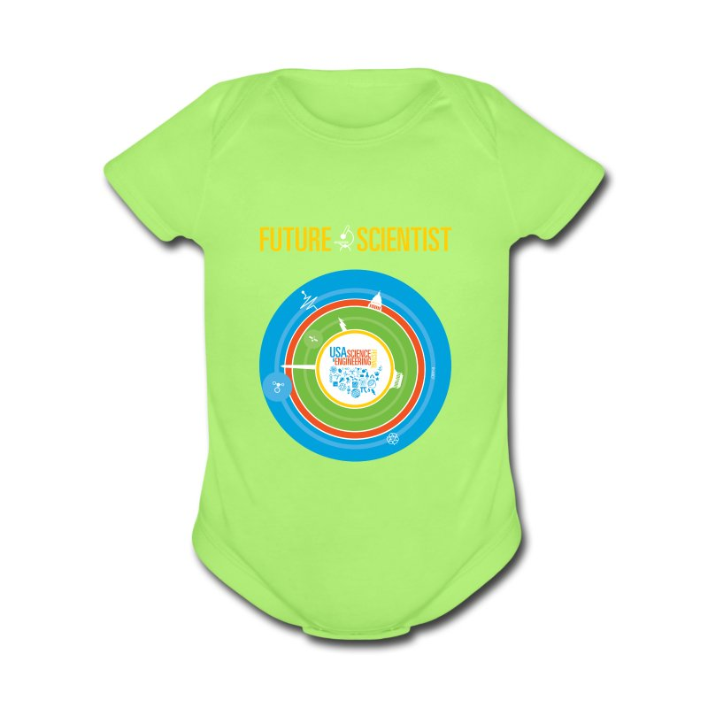 Baby Future Scientist  (Front Design Only) - Short Sleeve Baby Bodysuit