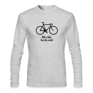 ride bike save world - Men's Long Sleeve T-Shirt by Next Level