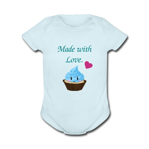 Made with Love Cupcake   - Organic Short Sleeve Baby Bodysuit