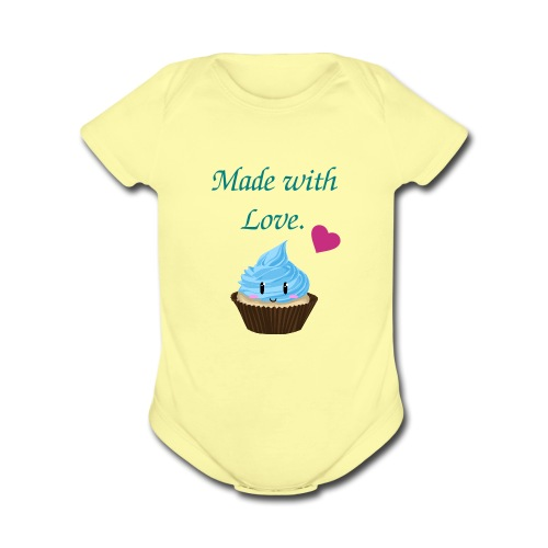 Infant Made with Love Cupcake   - Organic Short Sleeve Baby Bodysuit