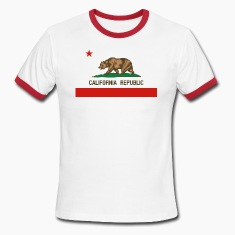 California Republic State Flag Mens Ringer T-shirt