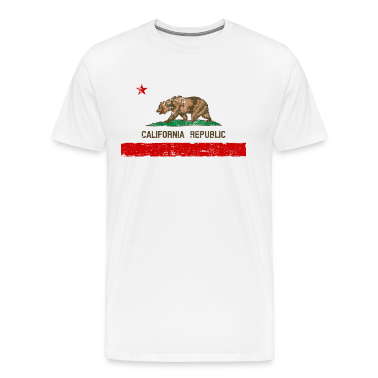 Vintage Distressed California State Flag Mens Prem