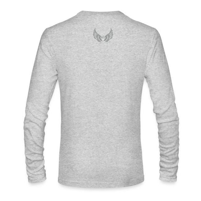 fa6febad049a ANGELS GANG   MensLS round neck Small AG Logo in silver flock print ...
