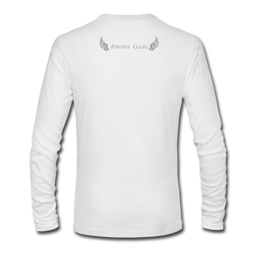 Men's/LS round neck/ Angels Gang Logo in silver flock print on back - Men's Long Sleeve T-Shirt by Next Level