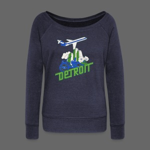 Vintage Detroit Airline Poster - Women's Wideneck Sweatshirt