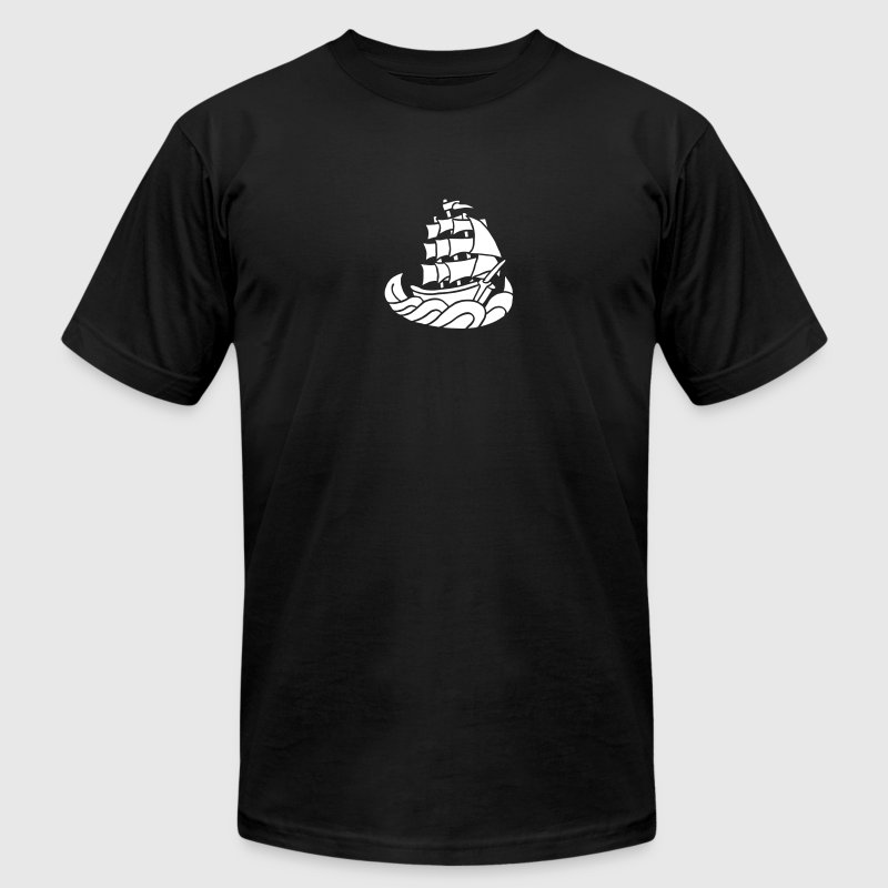 ship vintage tattoo sailing boat pirates sea waves T-Shirts - Men's T-Shirt by American Apparel