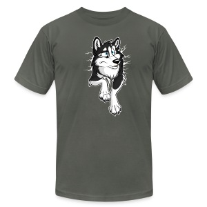 STUCK Husky Black (2-sided) - Men's T-Shirt by American Apparel