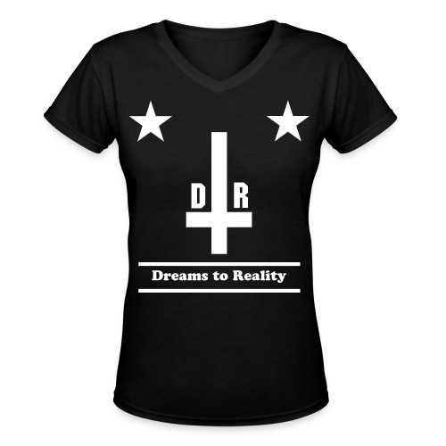 Dreams Black and White  - Women's V-Neck T-Shirt
