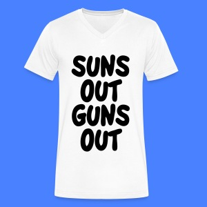 Suns Out Guns Out T-Shirts - Men's V-Neck T-Shirt by Canvas