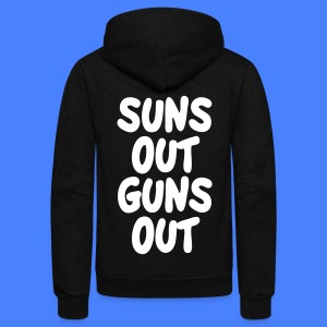 Suns Out Guns Out Zip Hoodies & Jackets - Unisex Fleece Zip Hoodie by American Apparel