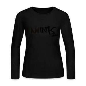 All Black Ladies Long Sleeve Crew Neck - Women's Long Sleeve Jersey T-Shirt