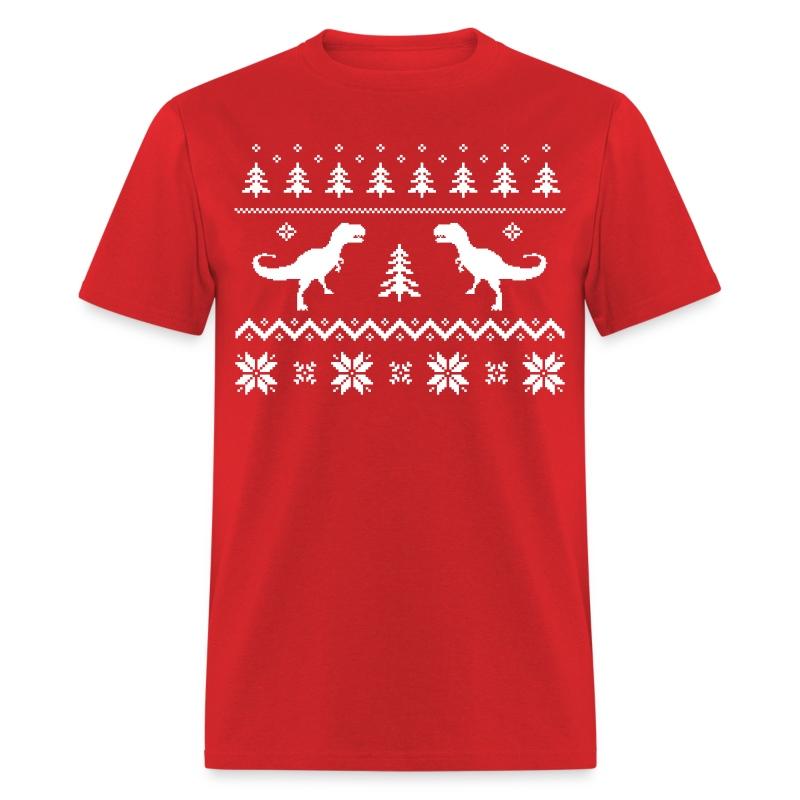 Ugly t rex dinosaur christmas sweater t shirt spreadshirt for Tacky t shirt ideas