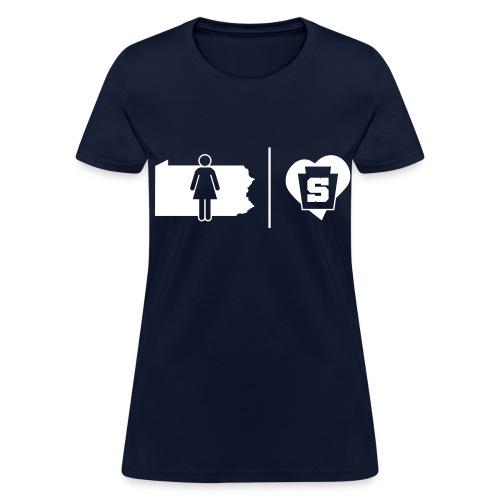 PA Girl w/ a Penn State Heart - Women's T-Shirt