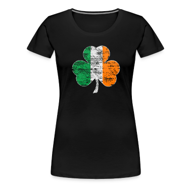 Vintage Irish Flag Shamrock Womens Premium T-shirt