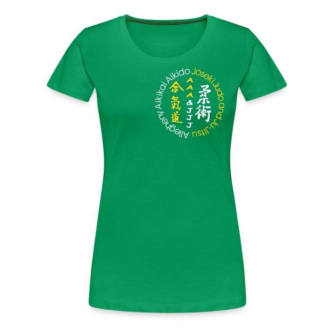 Women's premium t-shirt white/gold logo white/gold artwork