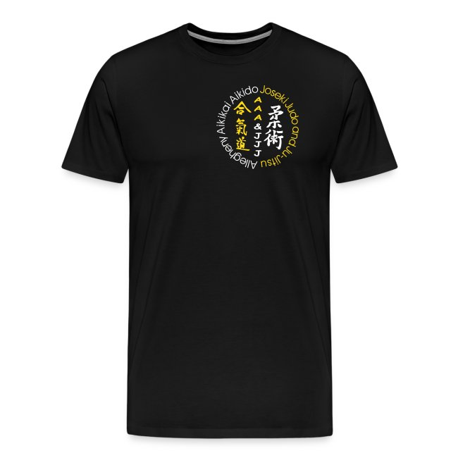 Men's premium t-shirt white/gold logo white/gold artwork