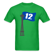 T-Shirts ~ Men's T-Shirt ~ Seahawks 12th MAN FLAG Seattle Space Needle Shirt