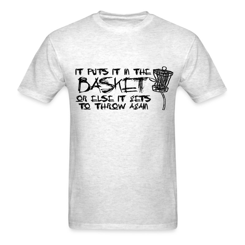 It Puts It In the Basket Disc Golf Shirt - Men's Standard Tee - Black Print - Men's T-Shirt