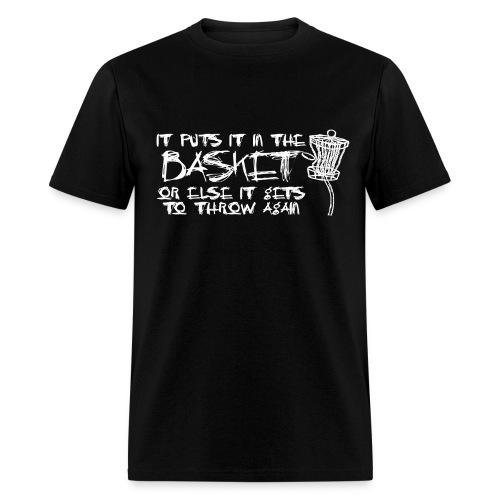 It Puts It In the Basket Disc Golf Shirt - Men's Heavyweight  Tee - White Print - Men's T-Shirt