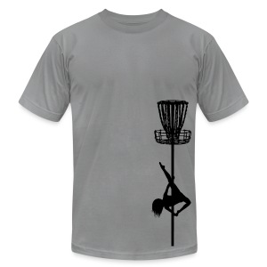 Disc Golf Diva Pole Dancer - Men's Fitted Shirt - Black Print - Men's T-Shirt by American Apparel