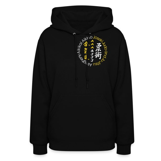 Women's hooded sweatshirt white/gold logo white/gold artwork white sleeve writing