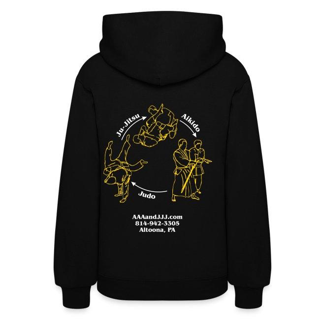 Women's hooded sweatshirt white/gold logo white/gold artwork white sleeve writing