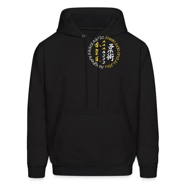 Men's hooded sweatshirt white/gold logo white/gold artwork white sleeve writing