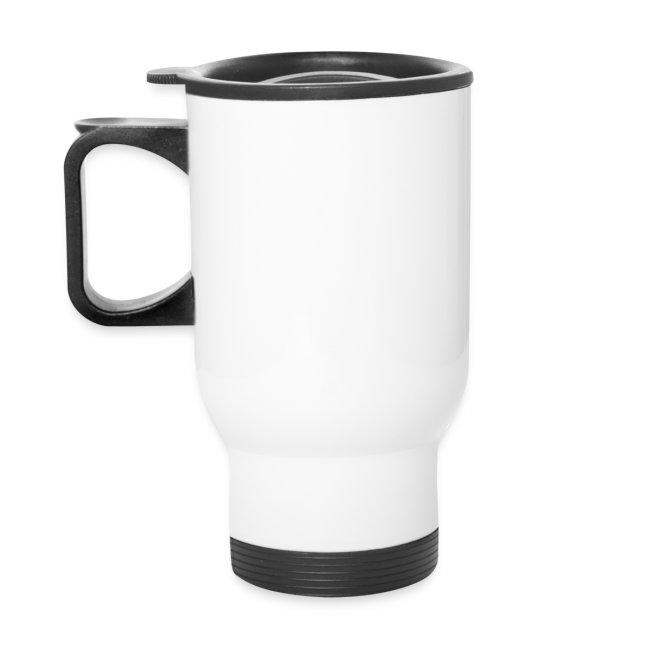 Aluminum travel mug black/crimson logo