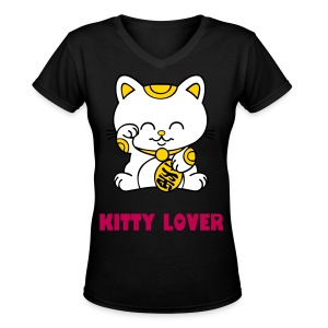 KITTY KISS DESIGN LADIES' V-NECK T-SHIRT IN BLACK - Women's V-Neck T-Shirt