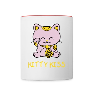 COFFEE MUG WITH KITTY KISS DESIGN  - Contrast Coffee Mug