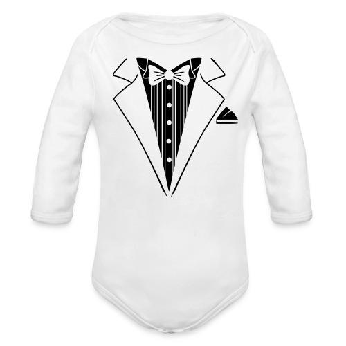 baby tuxedo  - Organic Long Sleeve Baby Bodysuit