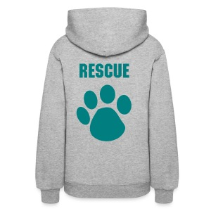 Customizable RESCUE Pullover Hoodie with Teal Print Women's - Women's Hoodie