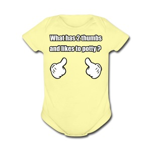 2Thumbs-Potty  - Short Sleeve Baby Bodysuit