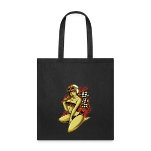 Hot Pin-Up Girl with Racing Flag - Tote Bag